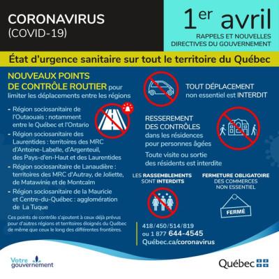 COVID-19 Rappels et nouvelles directives 1er avril 2020